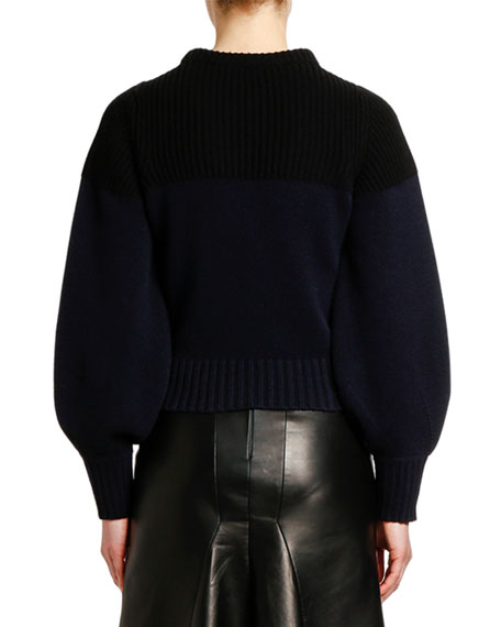 Cashmere Two-Tone Crop Sweater