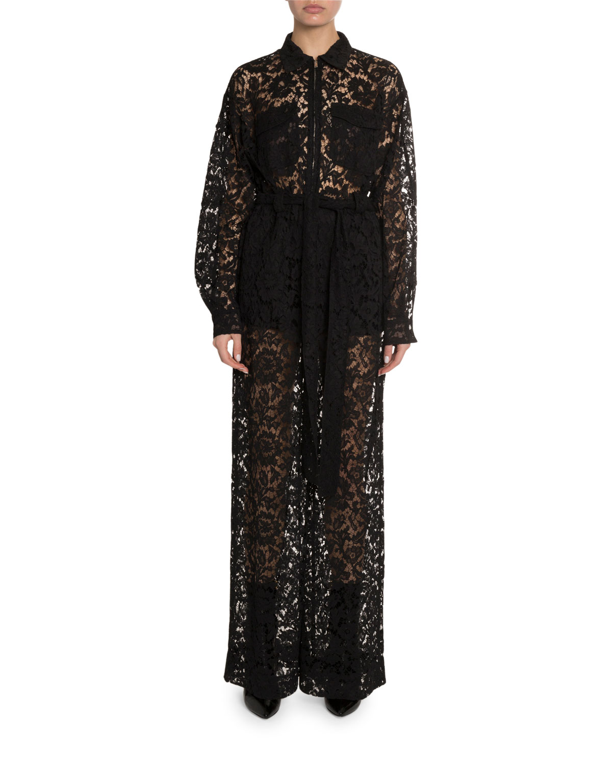 Valentino Suits Heavy Lace Long-Sleeve Lace Utility Jumpsuit