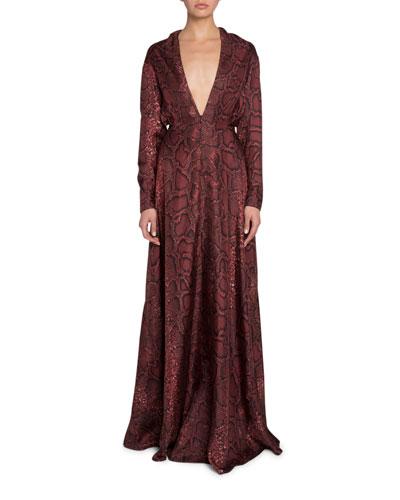 Python-Print V-Neck Gown