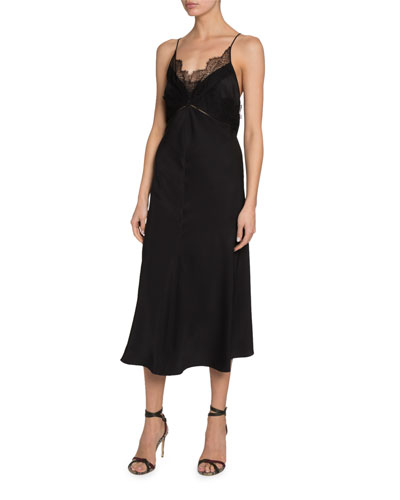 Lace-Trim V-Neck Midi Dress