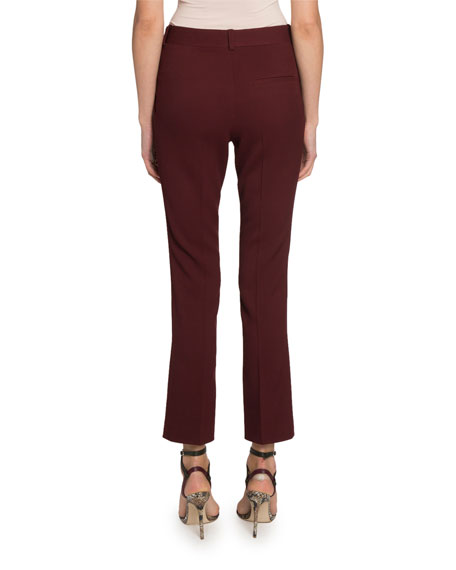 Cropped Slim-Leg Wool Trousers