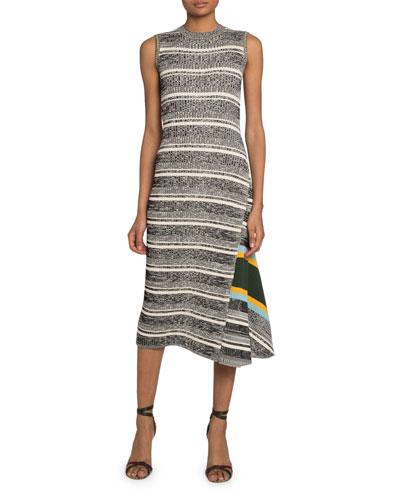 Striped Asymmetric Sweater Dress