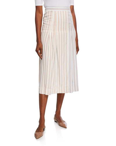 Striped Pleated-Front Midi Skirt