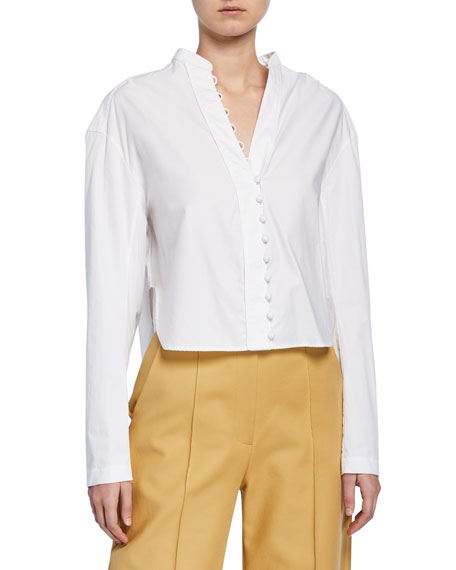 Charlotte Button-Loop Front Poplin Shirt
