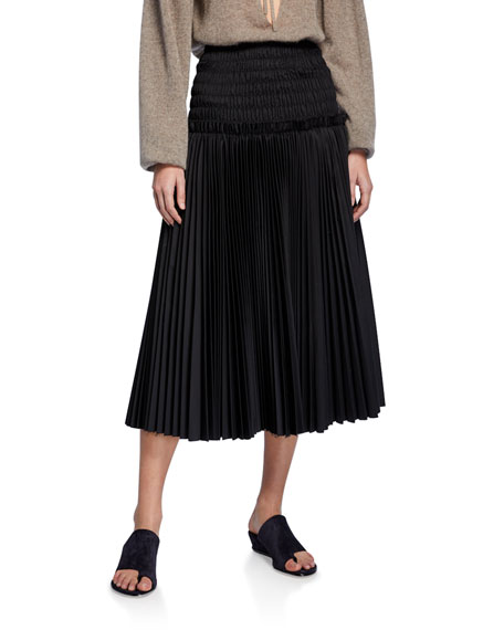 Rosa Smocked Drop-Waist Poplin Midi Skirt