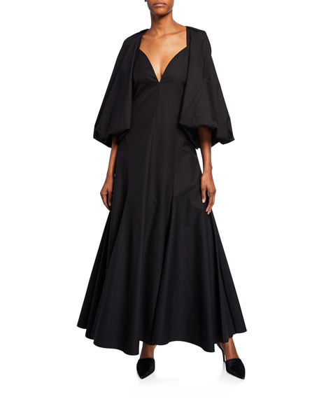Joanna Sateen Open-Back Capelet Dress