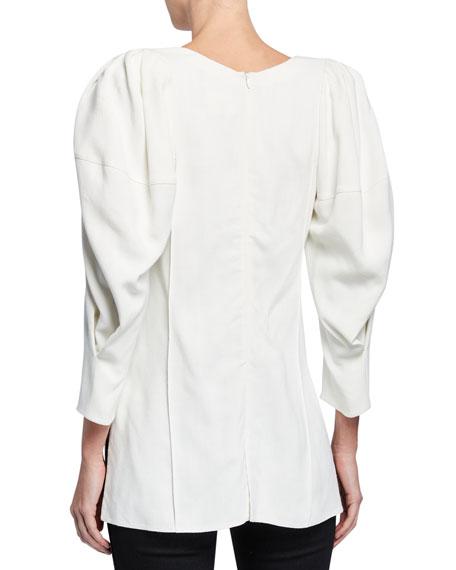 Jenny Puff-Sleeve Slit-Hem Top
