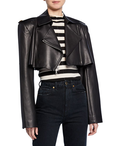 Eduarda Cropped Leather Moto Jacket
