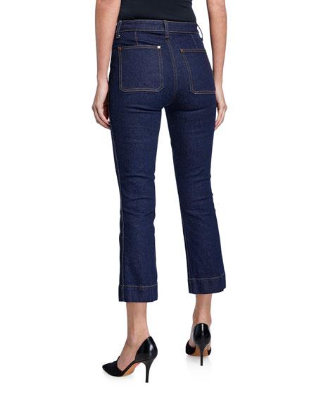 Raquel Patch-Pocket Crop Flare Jeans, Blue
