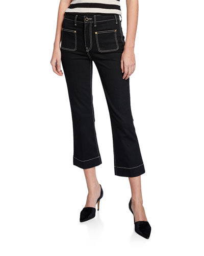 Raquel Patch-Pocket Cropped Flare Jeans, Black