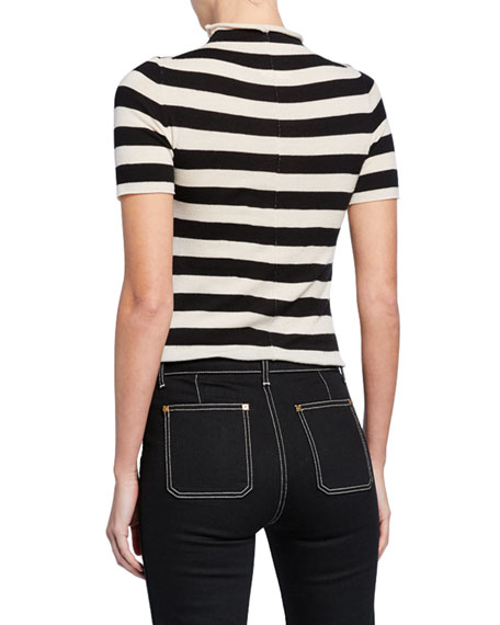 Nidia Striped Mock-Neck Short-Sleeve Sweater