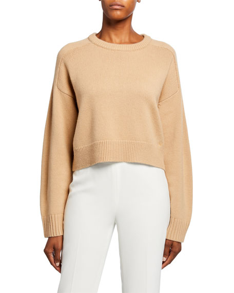Wool-Cashmere Raglan-Sleeve Crop Sweater