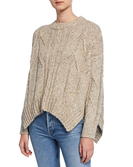 Draped Alpaca Aran-Stitch Sweater