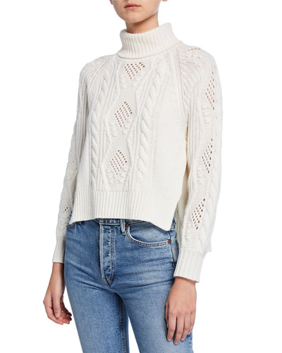 Wool-Cashmere Cable-Knit Turtleneck Sweater