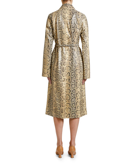 Python-Print Leather Coat