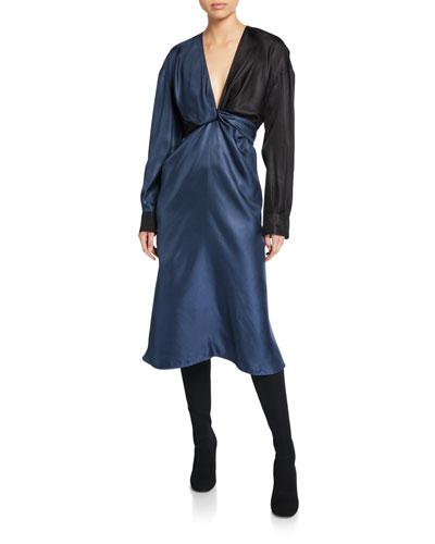 Colorblocked Silk Dress