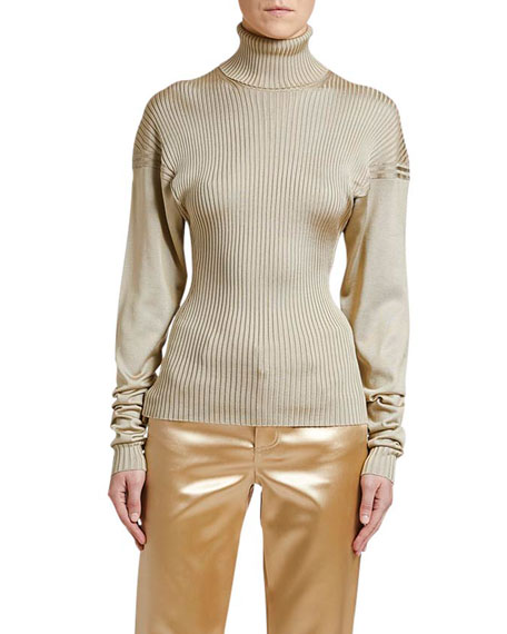 Ribbed-Silk Turtleneck Sweater