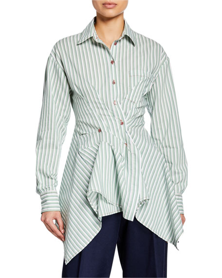 Striped Cotton Asymmetric Button-Front Shirt