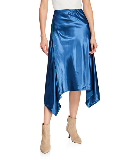 Fluid Satin Handkerchief Midi Skirt
