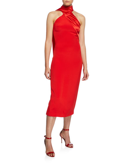 Satin Scarf-Neck Midi Dress