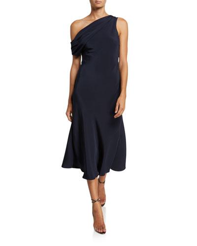 One-Shoulder Draped Silk Dress