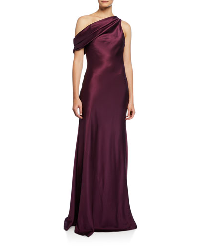 92e5a8dde3b One-Shoulder Draped Charmeuse Column Gown Quick Look. CUSHNIE