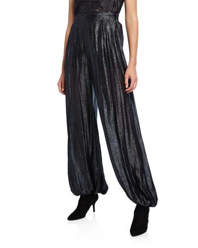 Shimmer Jersey High-Rise Harem Pants