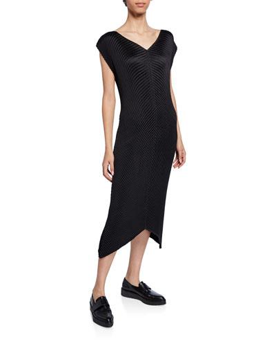 Glow-Pleated V-Neck Dress