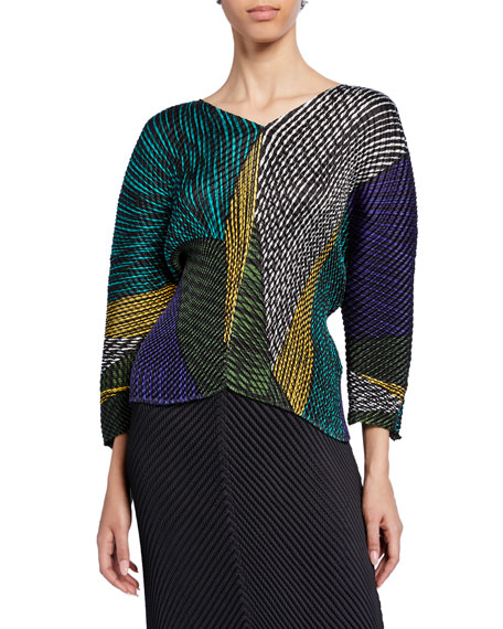 Multicolor Glow-Pleated Bracelet-Sleeve V-Neck Top