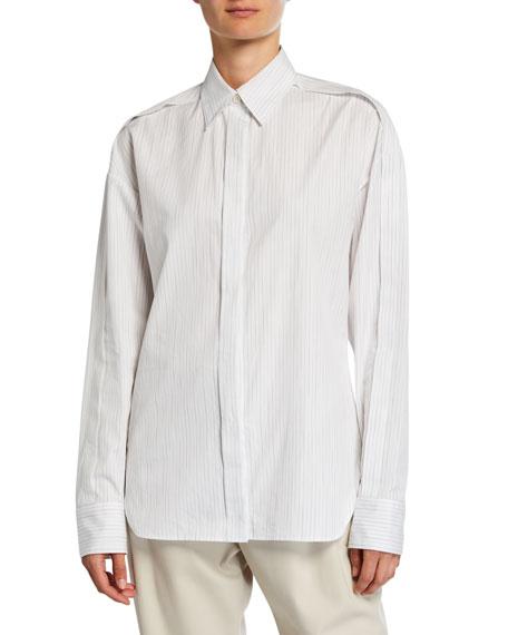 Roden Faded Pinstripe Button-Down Cotton Shirt