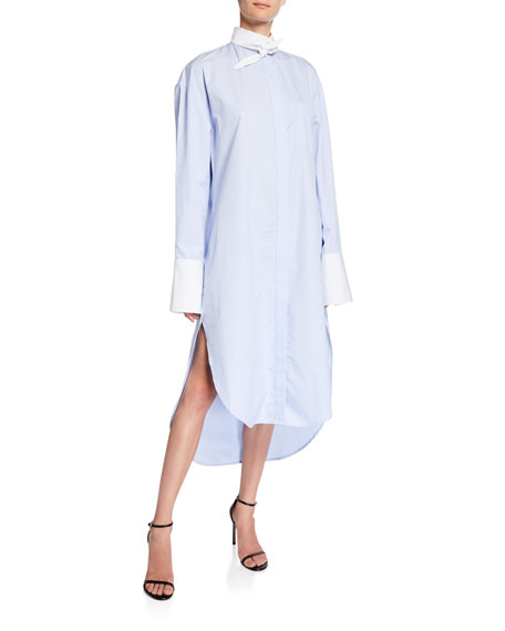 Button-Down Tie-Collar Shirtdress with Mini Stripe Details