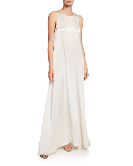 Jewel-Neck Sleeveless Long Satin Gown