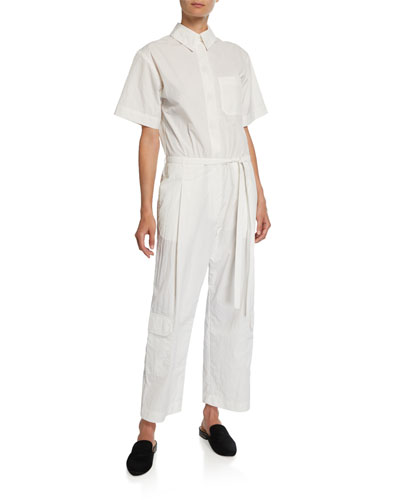 Button-Front Short-Sleeve Nylon Tissue Jumpsuit
