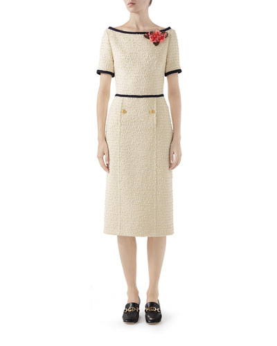 Short-Sleeve Tweed Midi Dress