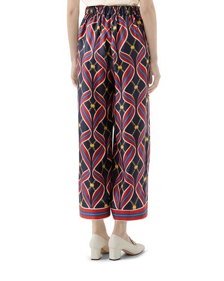 Interlocking G Ribbon-Print Pajama Pants