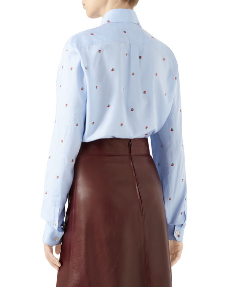 a38aac49f Gucci Strawberry Fil Coupe Tie-Neck Blouse