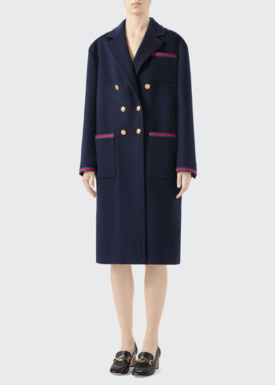 Double-Breasted Wool Coat with Ribbon Detail