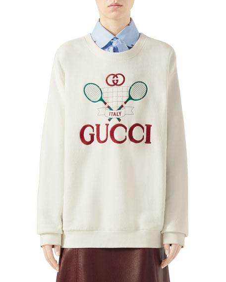7b7b84df13 Gucci Oversized Embroidered Tennis-Logo Sweatshirt