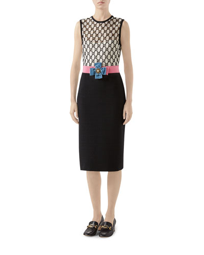 4ce3e35ae GG Macrame Tie-Waist Sheath Dress Quick Look. Gucci