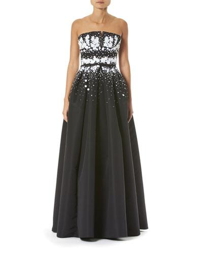 309d57cbd1e50 Strapless Embroidered Gown Quick Look. Carolina Herrera