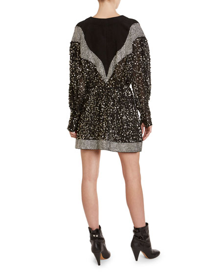 Printed Jersey Sequined Ruffle Dress