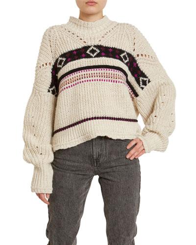 Contrast-Striped Turtleneck Sweater