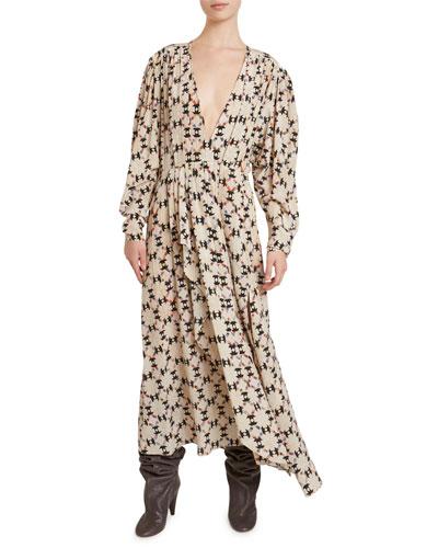 Asymmetric Floral Maxi Dress