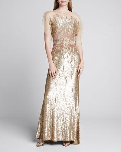 Tulle-Top Sleeveless Duchess Gown