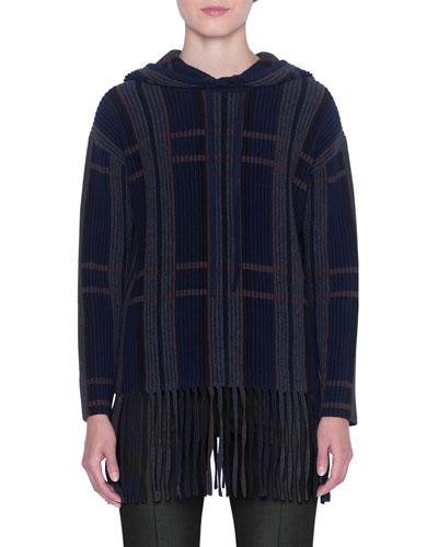 Baja Cashmere-Silk Checked Fringe Sweater