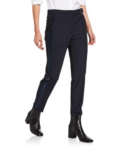 Satin Tuxedo-Striped Slim-Leg Pants