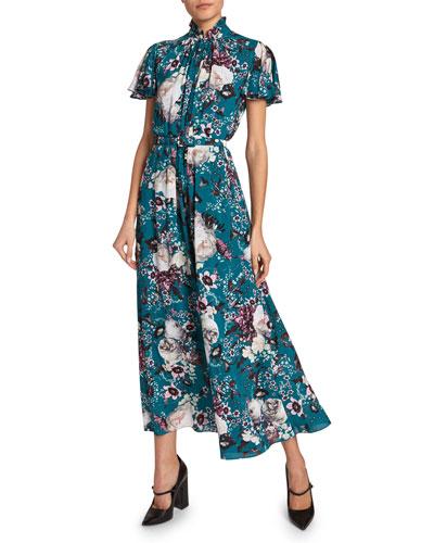 Gracelyn Flutter-Sleeve Floral Silk Dress