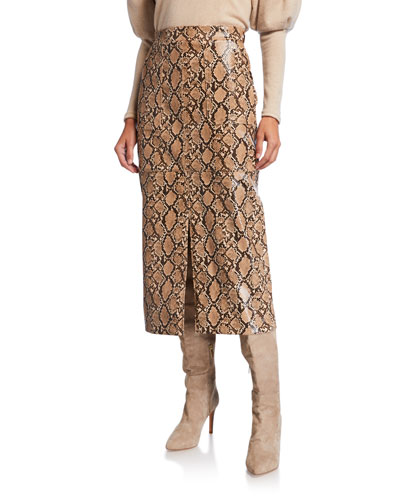 Faux Python Leather Skirt