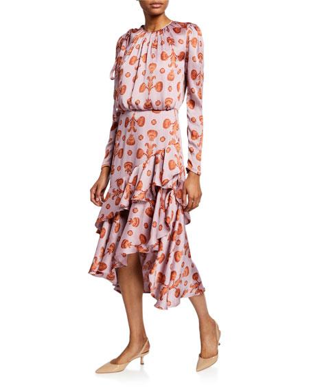 Printed Crewneck Long-Sleeve Asymmetric Ruffle Dress