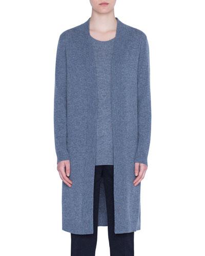 Wool-Cashmere Trompe l'Oeil Back Cardigan